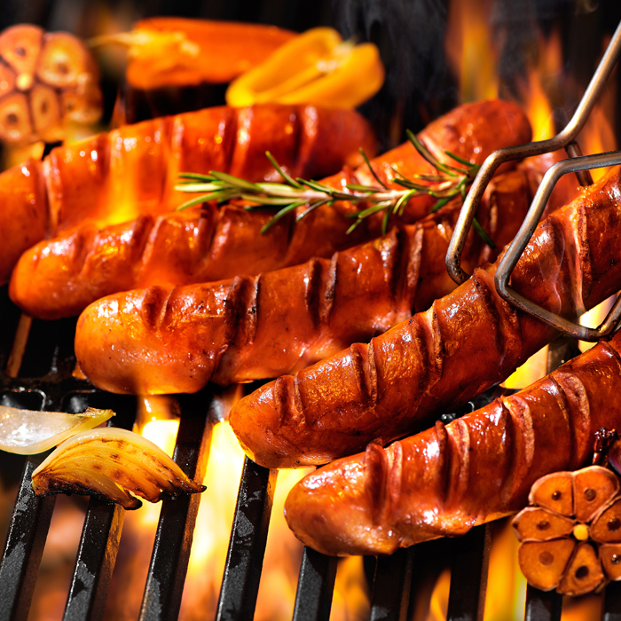 Sausages on the Barbeque Grill