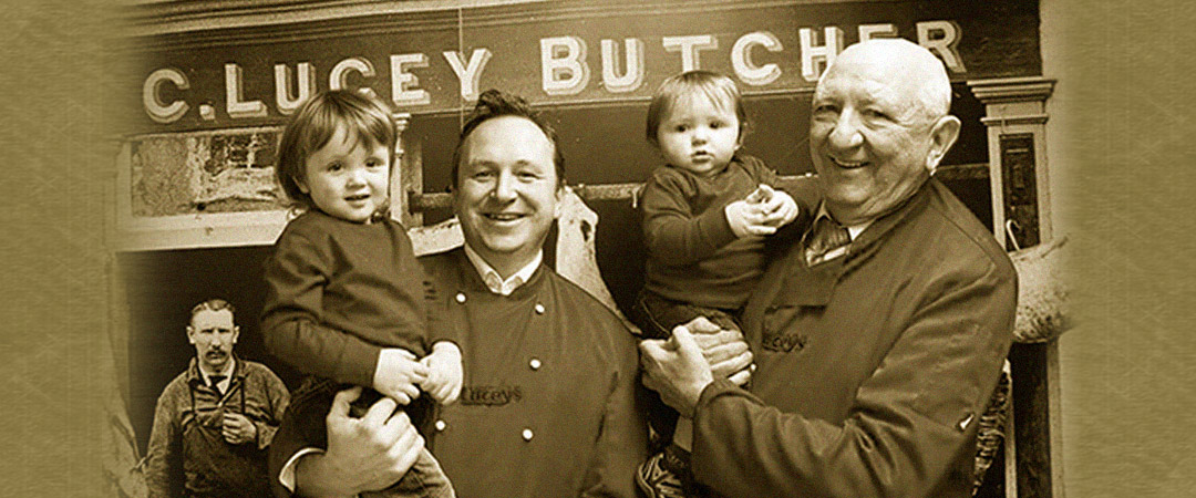 Ian Lucey and Family outside Luceys Butchers in Mallow